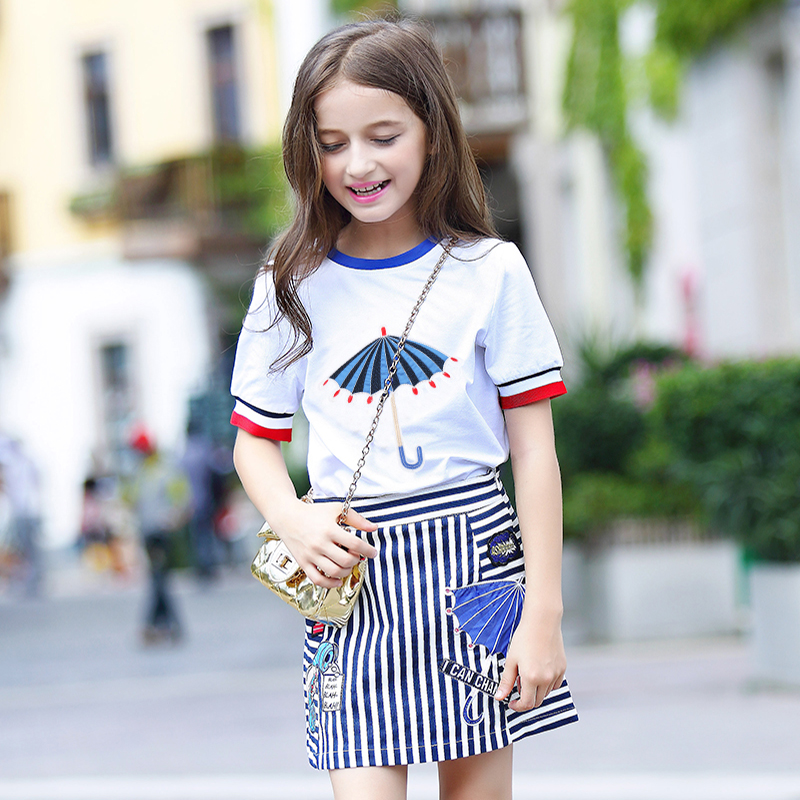 2017 Girl Summer T Shirts+Skirt Suit Female Big Children Cotton Short Sleeve Tees Short Skirt 2PCS Set Embroidery Umbrella FC001
