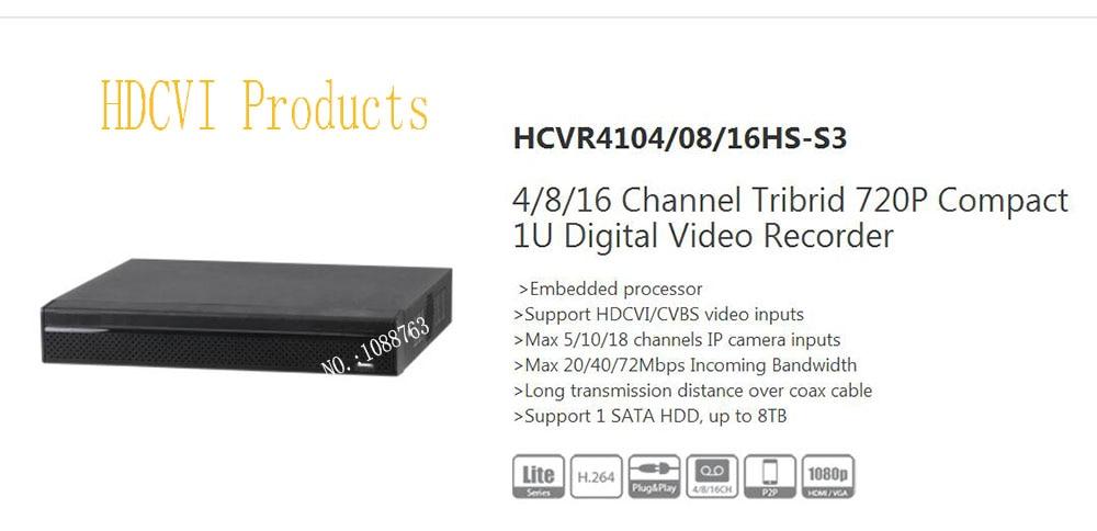 Free Shipping Original 4/8/16CH Tribrid 720P DAHUA Digital Video Recorder Without Logo HCVR4104HS-S3/HCVR4108HS-S3/HCVR4116HS-S3 solidsteel s3 4 black
