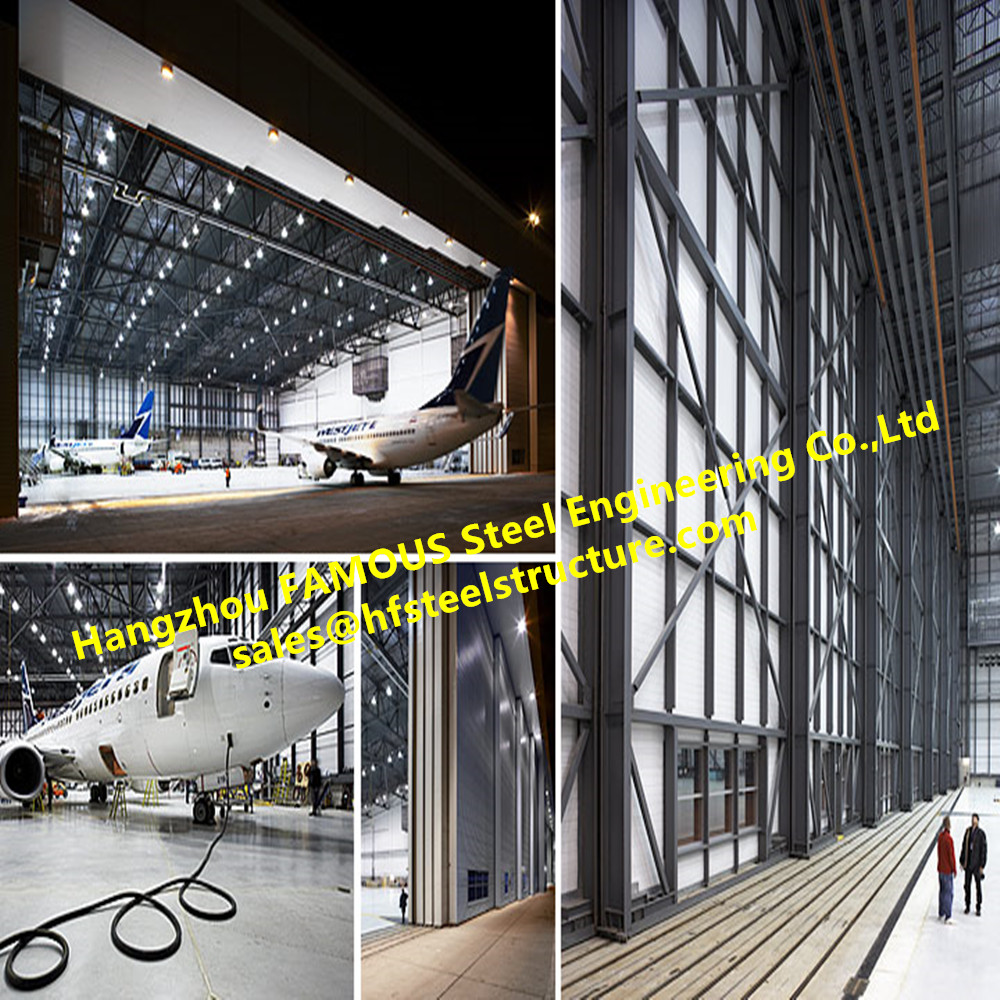 Prefabricated Aircraft Hangar Storage Buildings With Interior Water Electricity Fire Fighting Maintenence System