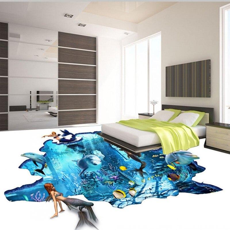ФОТО Free Shipping Mermaid underwater world 3D floor non-slip thickened living room bathroom lobby kitchen flooring wallpaper mural