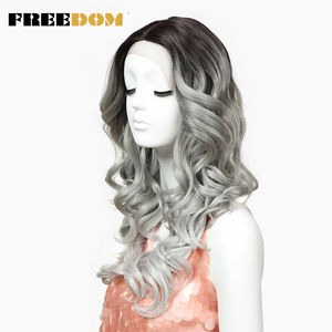 Image 2 - חופש שיער סינטטי פאה עבור נשים 24 אינץ תחרה מול פאות לנשים שחורות ארוך Loose גל חום עמיד סינטטי שיער פאות