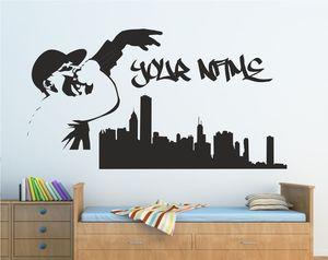 Image 1 - パーソナライズ落書きスカイラインラップ音楽歌手壁アートステッカーポスターホーム寝室アートデザイン装飾 2YY37