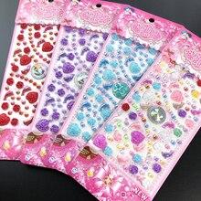 1 лист новые самоклеющиеся блестящие стикеры со стразами DIY алмазные драгоценные камни наклейка мультфильм сердце бабочка наклейка случайный цвет