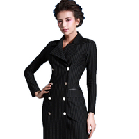 Europe And The United States Women S Spring And Autumn 2017 Vintage Dress Fashion Slim Black