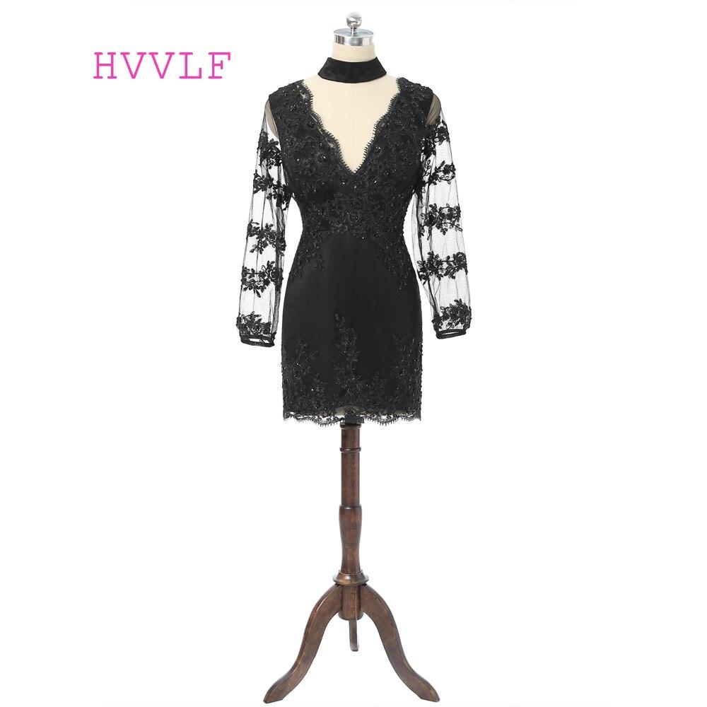Black 2019 Elegant Cocktail Dresses Sheath Deep V-neck Short Mini Appliques Lace Beaded Open Back Sexy Homecoming Dresses
