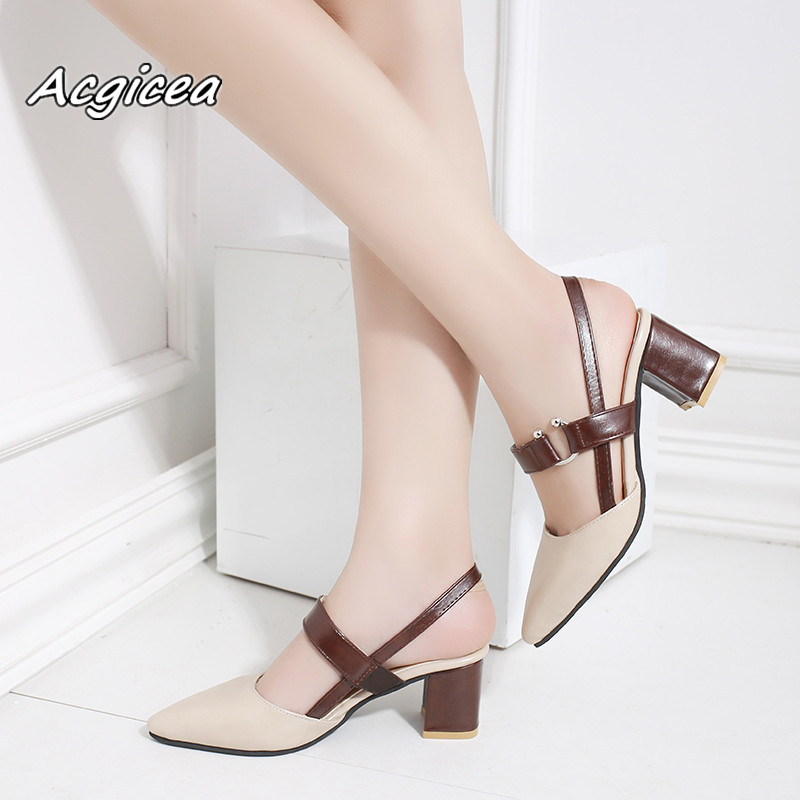 b70a7918421 2019 spring hollow coarse sandals high heeled shallow mouth pointed baotou  shoes women Female sexy high heels large size35 42-in Women's Pumps from  Shoes on ...