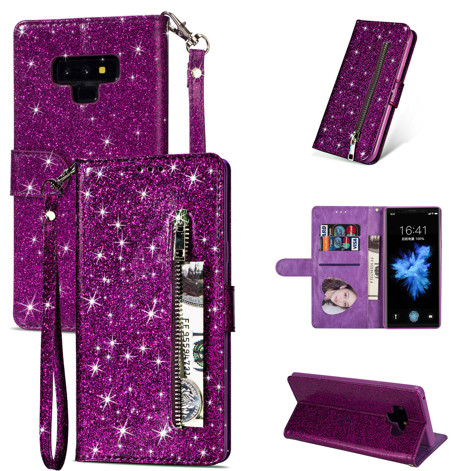 HTB1n TEdgmH3KVjSZKzq6z2OXXaw Bling Glitter Case For Samsung Galaxy S10e Note 8 9 S10 Plus S9 S8 Plus S7 Edge S6 Leather Flip Stand Zipper Wallet Cover Coque