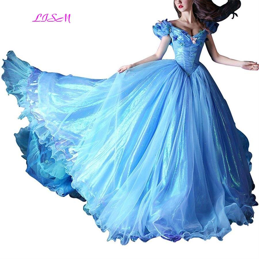 2019 Blau Ballkleid Prom Kleider Weg Von Der Schulter Schmetterling Organza Prom Kleider Gericht Zug Lange Prinzessin Party Kleid Gala Jurken