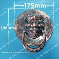 Taille 175mm diamètres Antique Chinois lion tête poignée de porte heurtoir poignée licorne bête