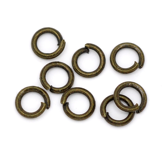 Bronze Tone Open Jump Rings 4mm Dia. Findings, Sold Per Packet Of 650 New