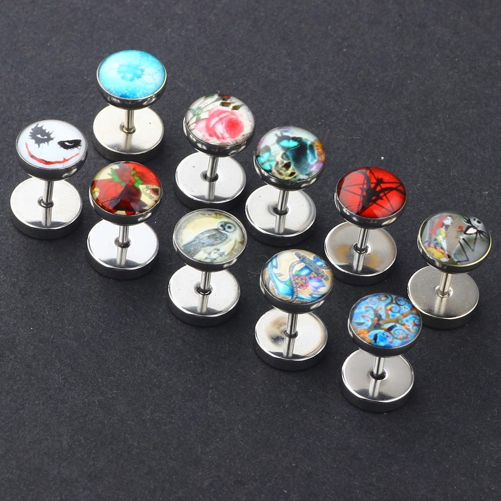caf1cd5b5e70b Fanpeijy Silver Screw Stud Earrings for Men Women Steel Cheater Fake Ear  Plugs Gauges Illusion Tunnel 2pcs Body Piercing Gauges-in Body Jewelry from  ...