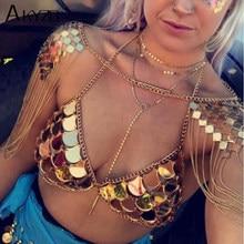 1c00daa6b21 AKYZO 2017 Summer Festival Mirror Bra Glitter Mermaids Tops Boho Beachwear  Bohemian Women Bralette Cropped Tops Sexy Clubwear