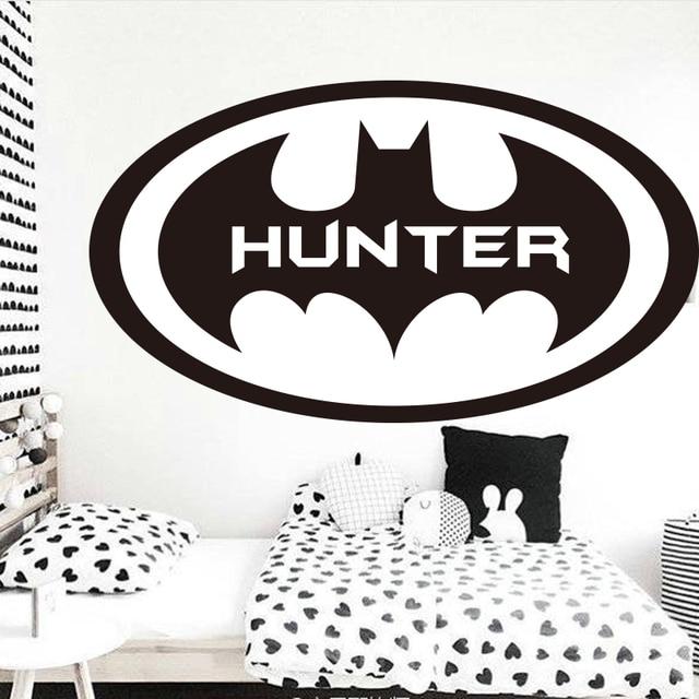 Personalized Name Batman Monogram Fly Circle Wall Sticker Boys - Custom vinyl wall decals circles