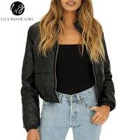 Lily Rosie Girl Black Padded Jacket Short Women Winter 2017 Parkas Long Sleeve Zipper Pocket Faux