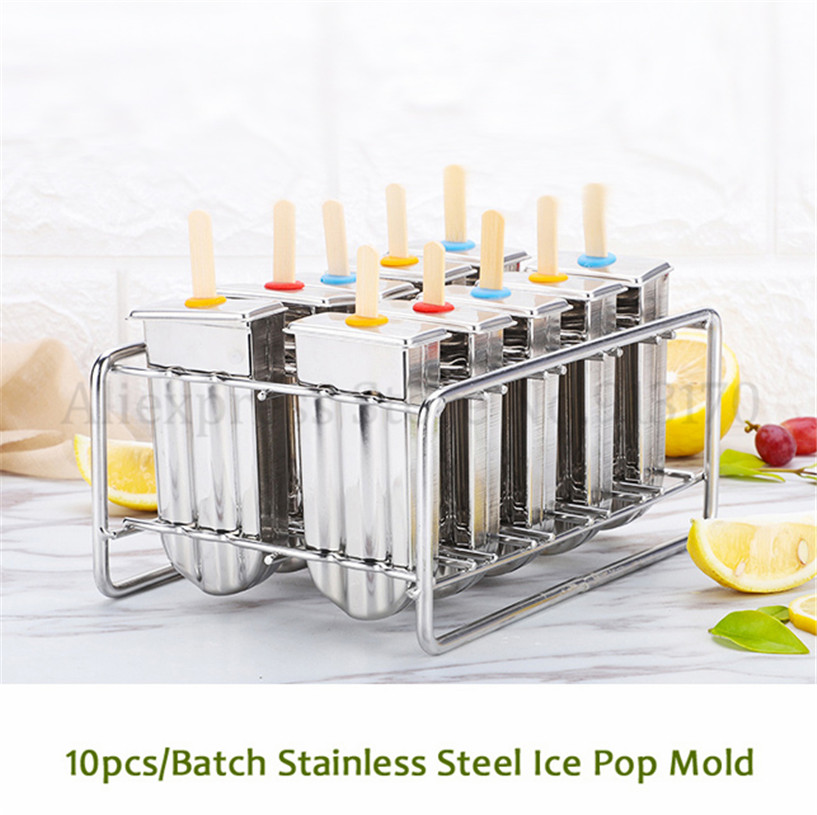 Stainless Steel Frozen Ice Cream Pop Popsicle Maker DIY Mold Brand New 10Pcs/Batch Free Shipping stainless steel ice pop popsicle moulds commercial diy ice cream mold brand new 20pcs batch sticks holder