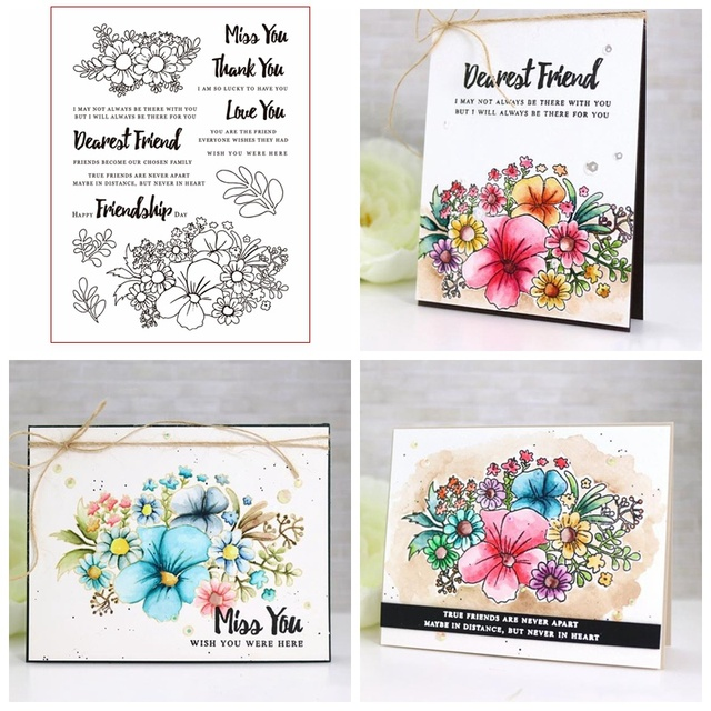 Friendship Flowers Clear Stamps For Diy Scrapbooking Paper Cards