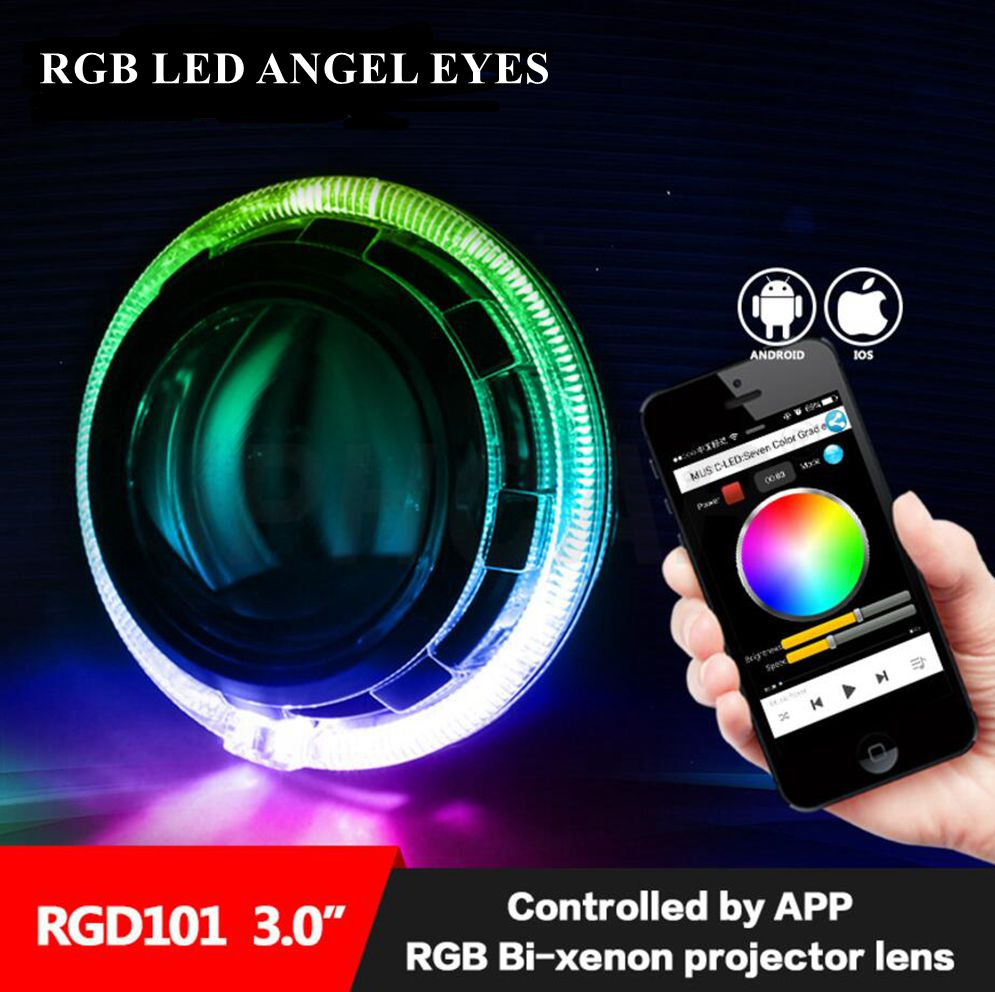 hid Bi-xenon lens kit Bluetooth APP Control RGB LED Angel Eyes Color-changing with h1 projector lens  car headlight fit for h4 mp620 mp622 mp625 projector color wheel mp620 mp622 mp625
