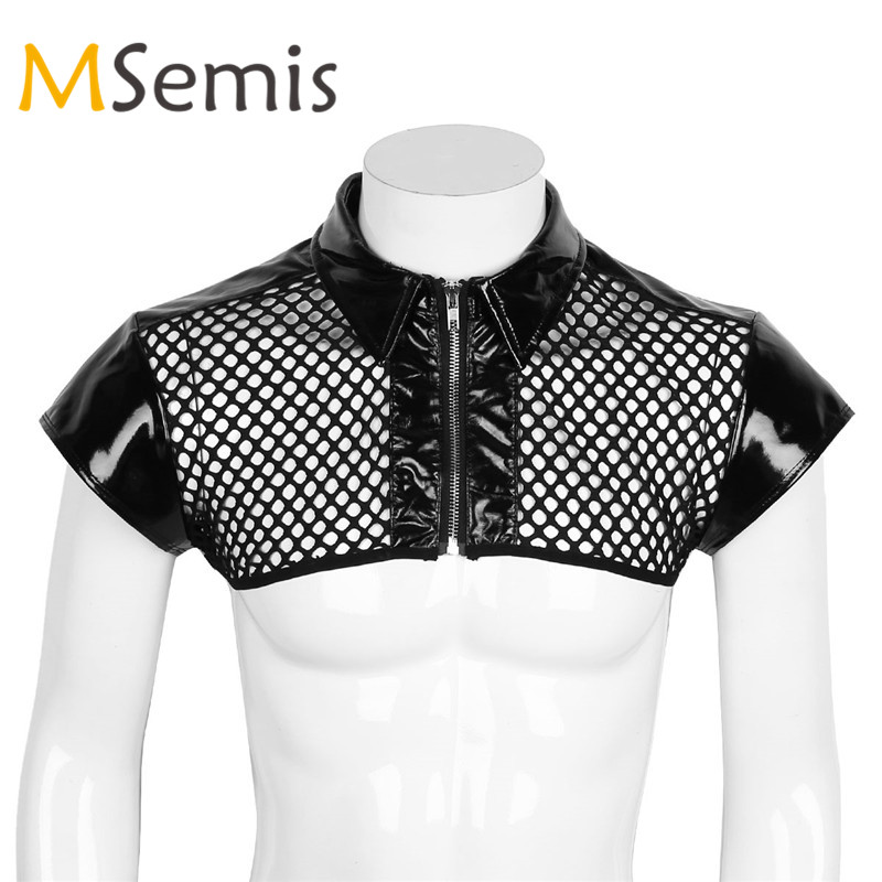 Mens Mesh Fishnet Crop   Top   Cap Sleeve Leather Splice Shoulder Chest Harness Shirt Muscle Gay Men Clubwear Costume Half   Tank     Top