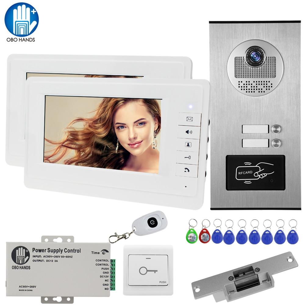 7 ''Wired Home Video Intercom IR Camera Campainha Da Porta de Acesso RFID Kit com Trava Elétrica 2 Monitores para dois Apartamentos EM chave desbloquear