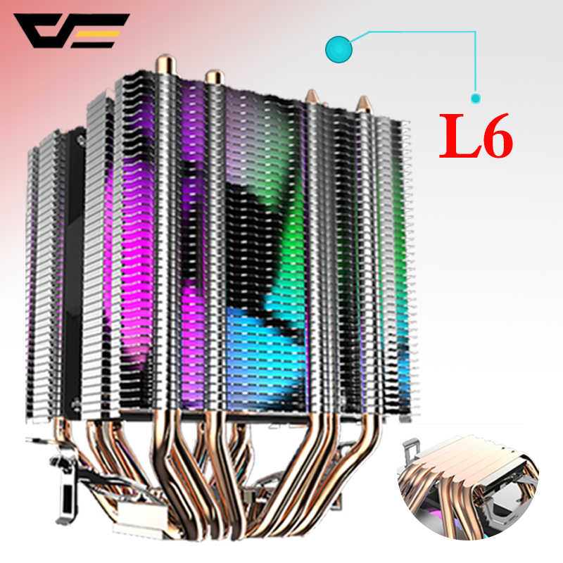 Darkflash Cpu Koeler 6 Heatpipes Met Led Fan 3pin 90 Mm Cpu Fan 3 Fans Kan Worden Ins Voor Computer 775/Lga/2011/115x/1366 AM2/AM3