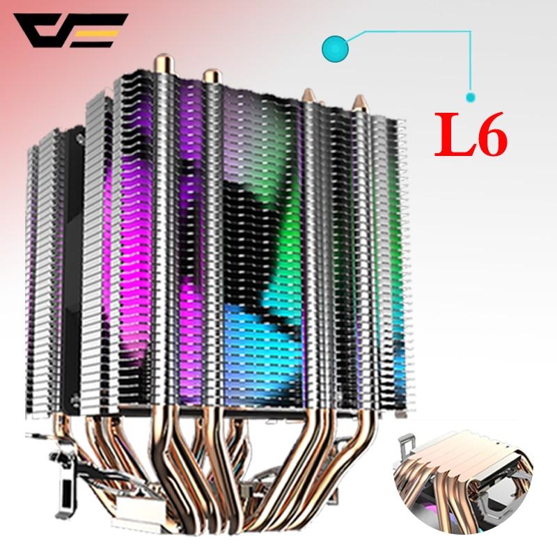 Enfriador de CPU Darkflash 6 Heatpipes con ventilador led 3pin 90mm ventilador de CPU 3 ventiladores pueden ser ins para computadora 775/LGA/2011/115x/1366 AM2/AM3