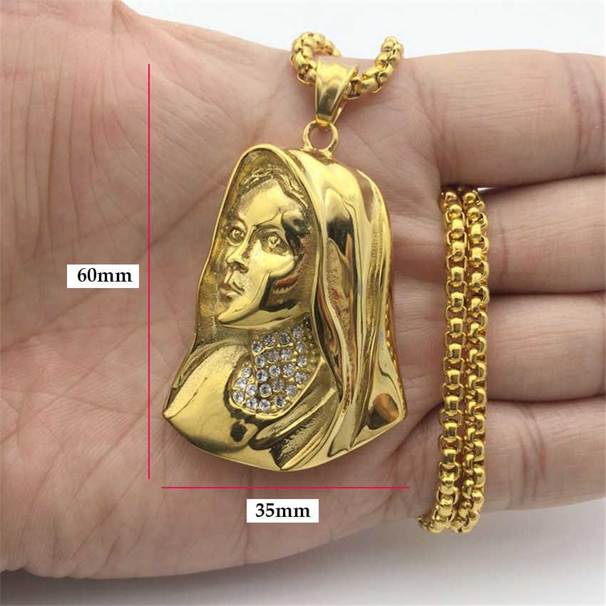 Hip Hop Iced OUT Virgin Mary สร้อยคอจี้สแตนเลสสำหรับผู้หญิงคริสเตียนเครื่องประดับ Madonna XL1063