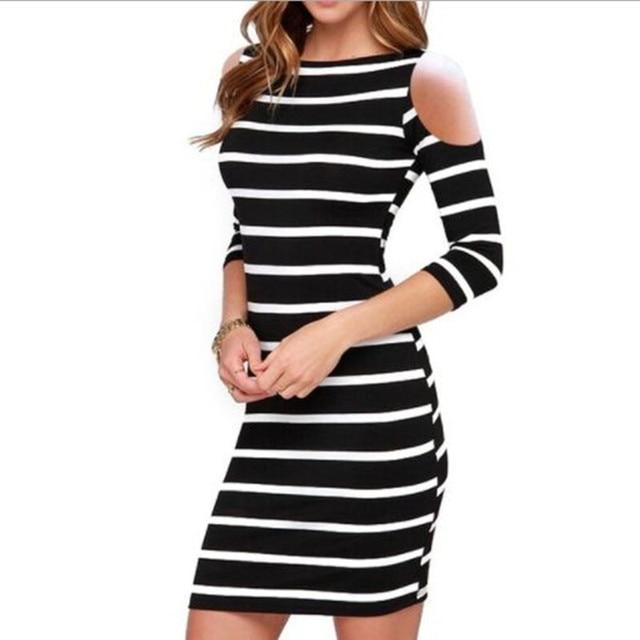 edc7678157b 2018 Summer Women Sexy Plus Size Black White Striped Shoulder Out Fit Bodycon  Dress Female Slim Robe Package Dress Vestidos