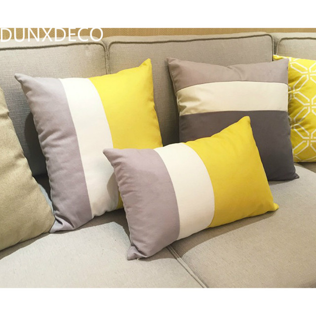 Dunxdeco Cushion Cover Decorative Pillow Case Modern Concise Bright Yellow Warm Soft Short Brush Wide Stripe