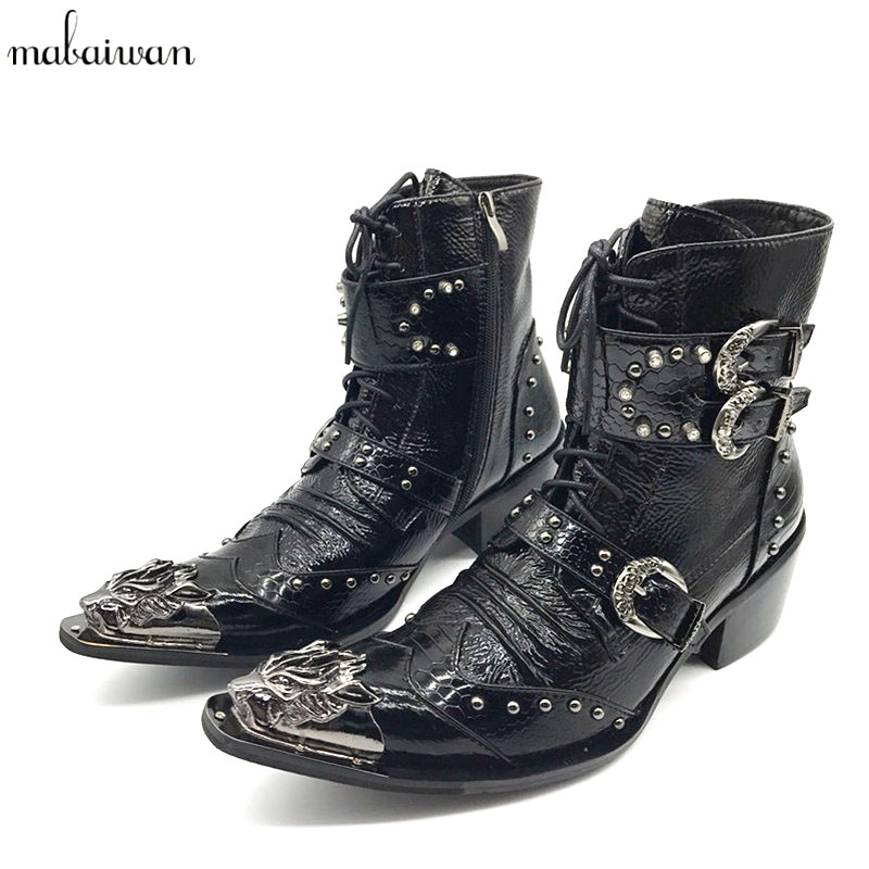 New Punk Style Genuine Leather Men Ankle Boots Iron Pointed Toe Lace Up Mens Military Cowboy Boots High Top Buckles Botas Hombre fashion genuine leather mens ankle boots pointed toe lace up wedding dress shoes safety shoes men military boots mans footwear