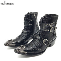 Handsome Genuine Leather Men Ankle Boots Metal Pointed Toe Lace Up Mens Oxford Shoes Military Cowboy