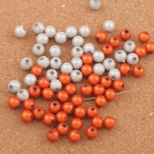 110pcs 8mm White/Orange Round Acrylic 3D Illusion Miracle Loose Spacer Beads L3036 LZsilver