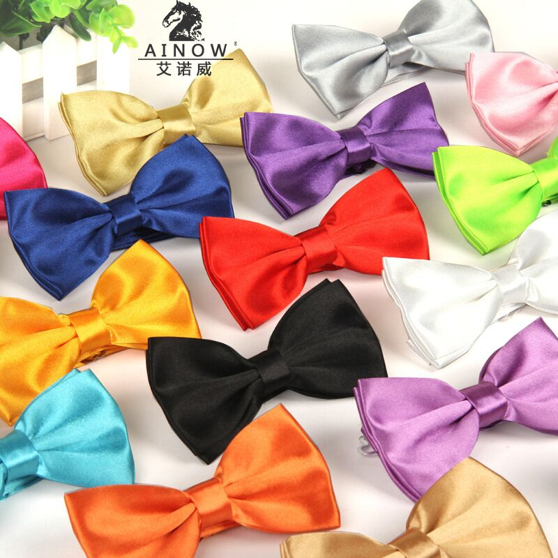 2017 Gentleman Butterfly solid slips röd cravat Fashion Bowties För herrbröllop Bright Color Bow Slips Justerbar affärsdel