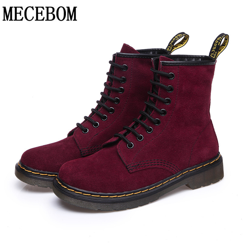 ФОТО Women Genuine nubuck leather boots Winter Ankle Boots British style Women Autumn casual shoes exquisite sapato feminino JA605W
