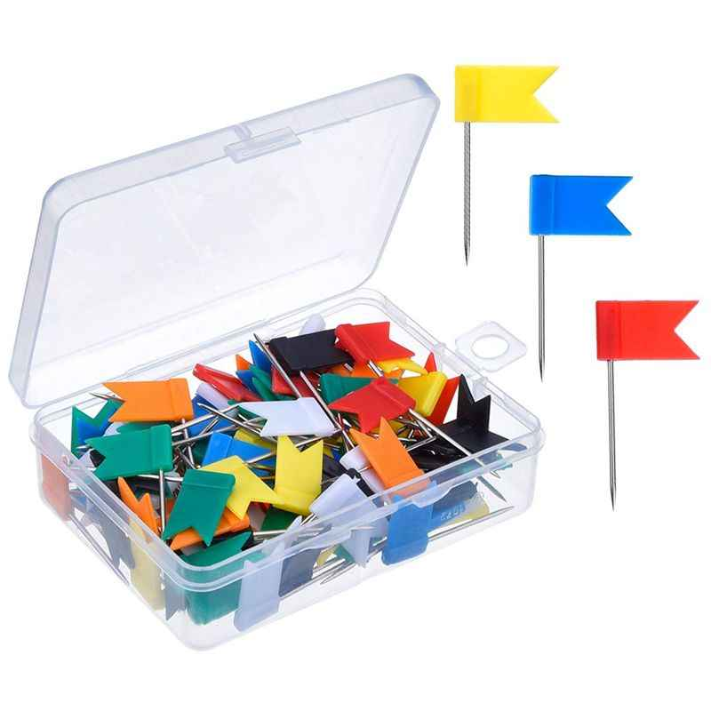 100 Pieces Map Flag Push Pins Tacks, Assorted 7 Colors