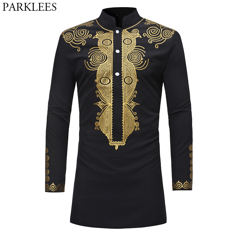 Mens Hipster African Dashiki Longline T-Shirt 2018 Fashion Casual Stand Collar Long Sleeve Tshirt Men Hip Hop Streetwear Tops купить недорого в Москве