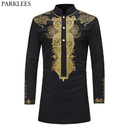 Mens Hipster African Dashiki Longline T-Shirt 2018 Fashion Casual Stand Collar Long Sleeve Tshirt Men Hip Hop Streetwear Tops