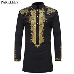 Mens Hipster African Dashiki Longline T-Shirt 2018 Fashion Casual Stand Collar Long Sleeve Tshirt Men Hip Hop Streetwear Tops