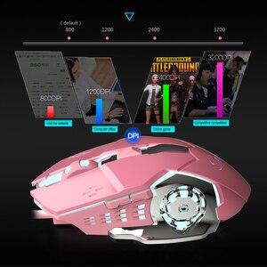 Image 5 - Мышь компьютерная игровая Механическая для девочек, 3200 точек/дюйм, розовая/белая