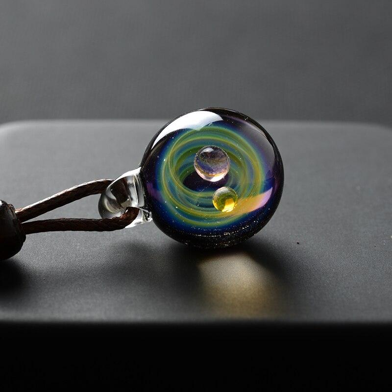 Doppel Ball Frauen Universum Planeten Galaxy Glas Anhänger Halskette, Sonne Mond Galaxy Halskette Mädchen Blau Mit Geschenk Box Dropshipping