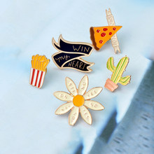 Pizza Wins Win My Heart YES NO Flower Cactus French Fries Brooch Metal Cartoon Button Pins Bag T-shirt Jacket Pin Badge Jewelry(China)