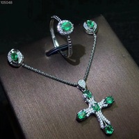 Natural and Real Emerald jewelry set Natural Real Emerald 925 sterling silver 1pc cross pendant,1pc ring ,2pcs Earring
