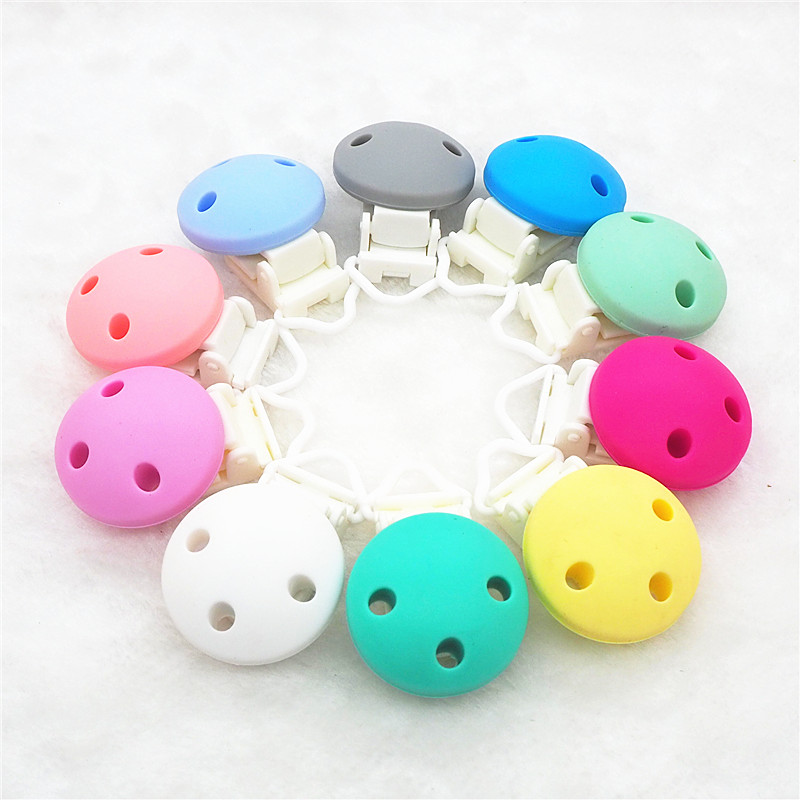 Chenkai 10PCS Silicone Round Teether Clips DIY Baby Pacifier Dummy Chain Holder Clips Soother Nursing Jewelry Toy Plastic Clips