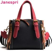 2018 JANESPRI Women Handbags Shoulder Crossbody Bag PU Leather Brand Panelled Casual Designer Top-Handle Tote Bag Female Bolsas