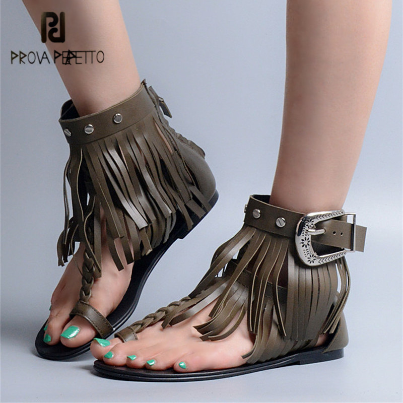 Prova Perfetto 2018 New Hot Women Flat Sandals Fringed Summer Beach Shoes Woman Sexy T-strap Weave Sandalias Mujer Flats phyanic 2017 summer new women sandals with chain women buckle strap flat platform summer casual shoes woman phy3413