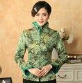 Verde mulheres chinês tradicional Tang Suit outono jaqueta de algodão flor jaqueta feminina tamanho ml XL XXL XXXL M-50