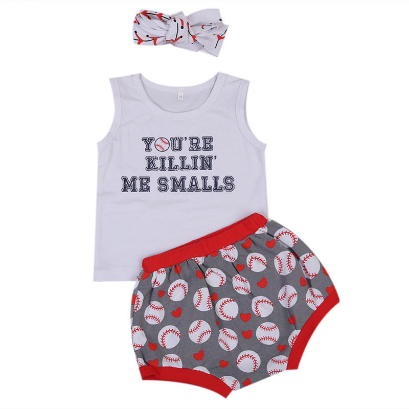 2017 Hot sell Sweet Baby Girl Kids Clothes Summer Sports Sleeveless Vest Tops+Shorts+Headband 3pcs Outfits Girl Clothing Set
