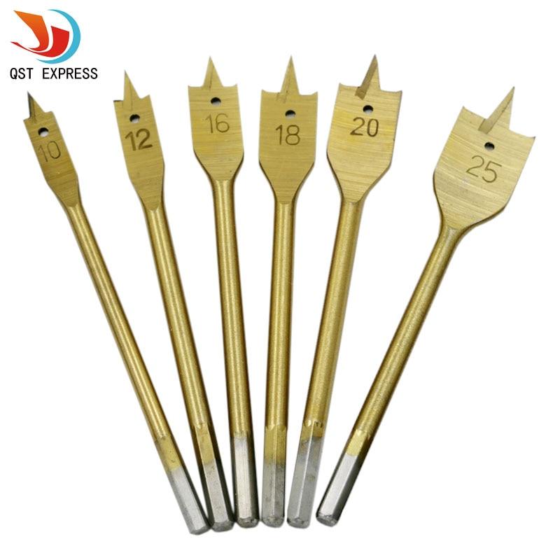 6pcs Set Titanium Coating Hex Shank Spade Bits Flat Boring Bit Wood Drill Bit font b