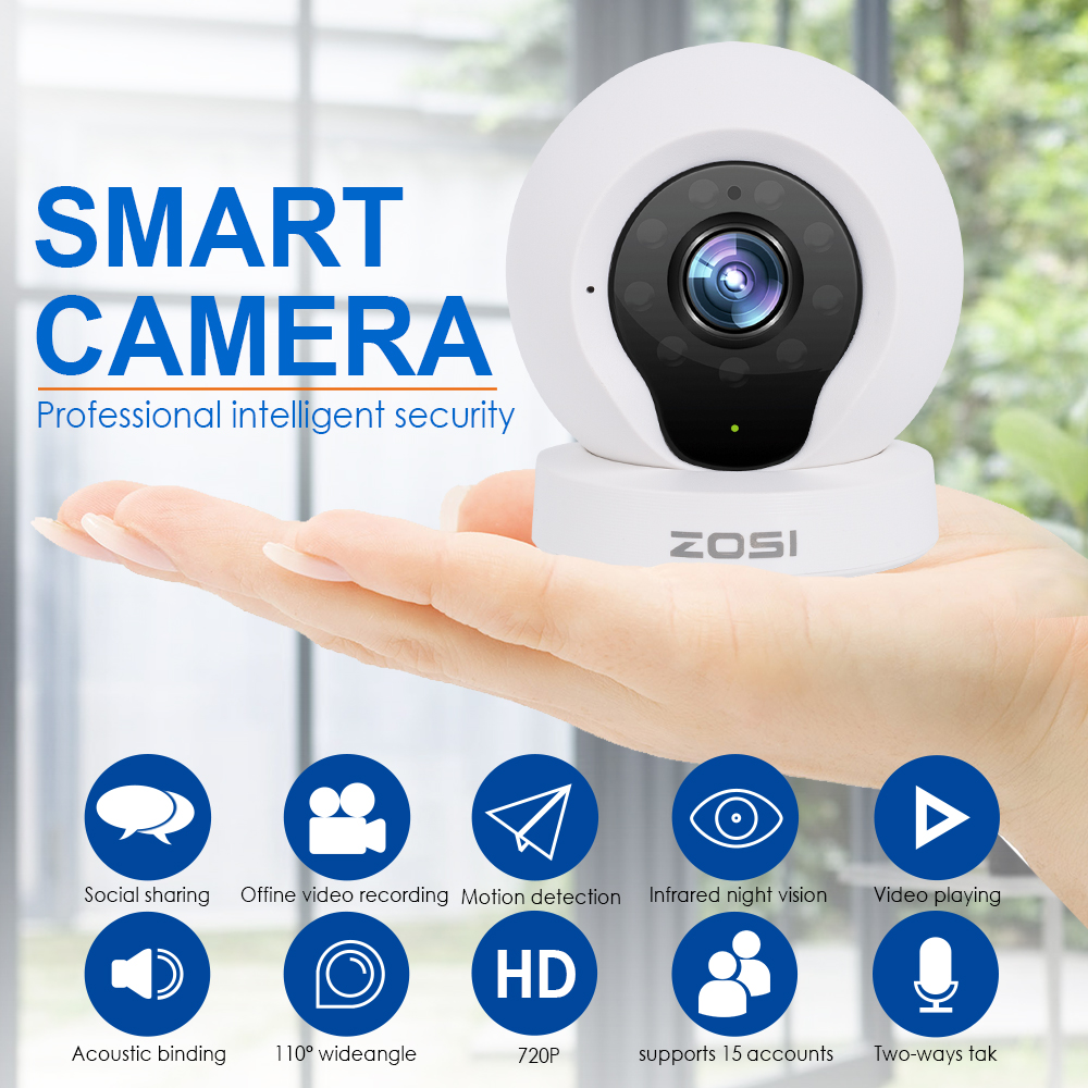 ZOSI Wireless IP Cameras, Baby Monitor Home Security Camera,720P HD,P2P Network Camera, Video Monitoring, Motion Detection