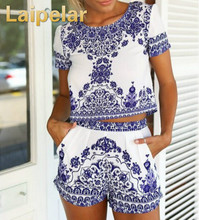 Laipelar Women Summer Two Piece Set Suits Vintage Embroidered Short Crop Top With Shorts Clothing Sets