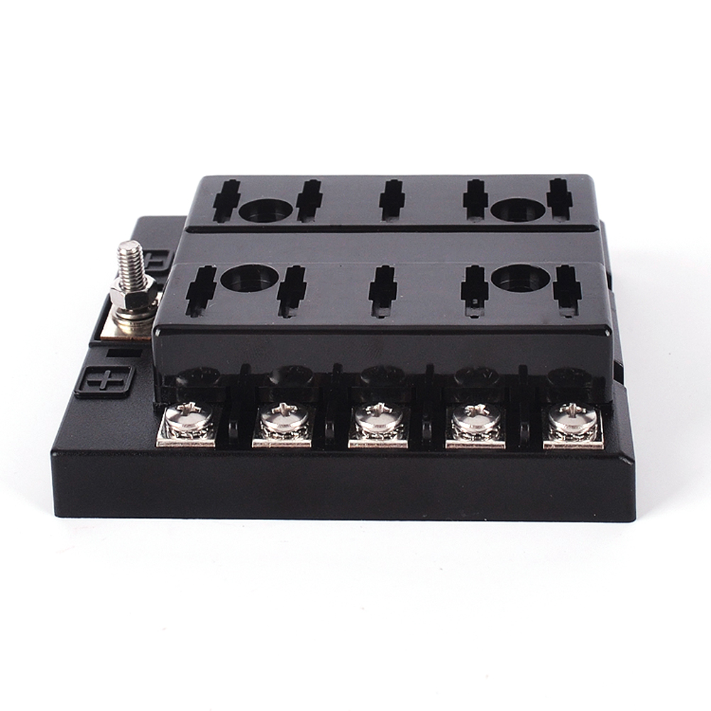10-Way Blade Block Fuse Box Holder with Fuse for Automotive Marine (1*Fuse  Holder + 10*Fuse +2*Tying Band + 1*Blade Fuse Clamp + 1*Sticker)